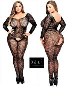 Baci Lingerie [ UK 16 - 22 ] Queen Size Black Lace Style Open Bodystocking (E...